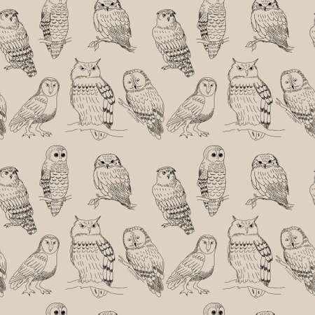 Seamless pattern with a cute cartoon owls strokes