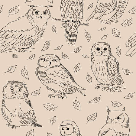 Seamless texture of a cute owls with leaves