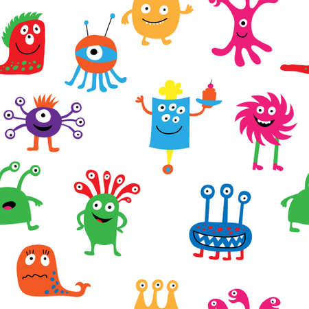 Cute seamless pattern with a different cheerful monsters