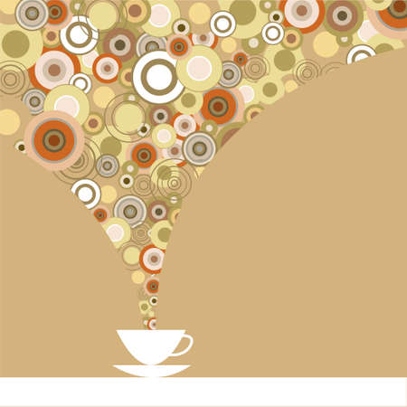 Greeting card with a fragrant coffee on a brown background