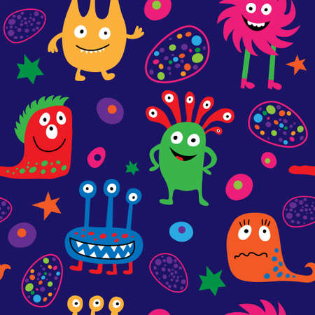 Cute seamless template with a different cheerful monsters and stars
