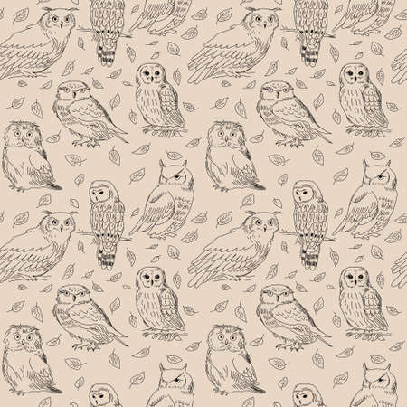 Seamless pattern with a owls and wild forest leaves