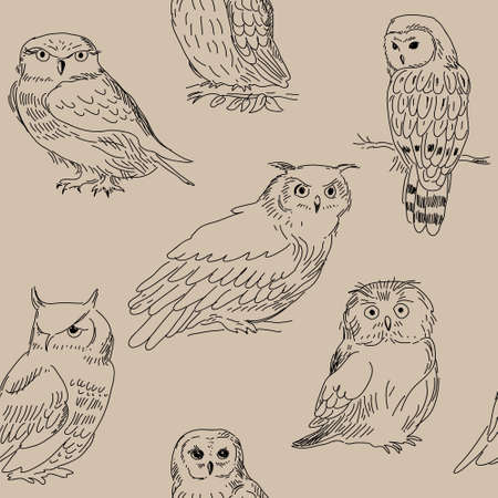 Seamless pattern with wild forest owls on a beige background