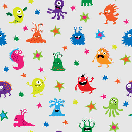 Cute seamless pattern with a different cheerful monsters and stars Illustration