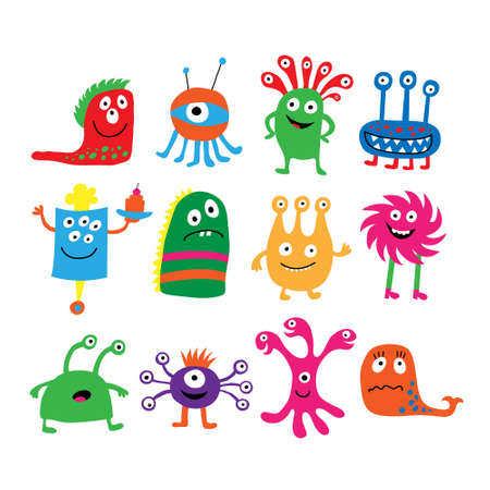 Collection of a different colored cute funny monsters