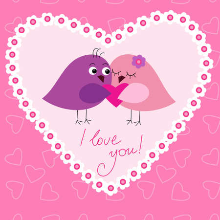 Greeting card with a cute birds in love
