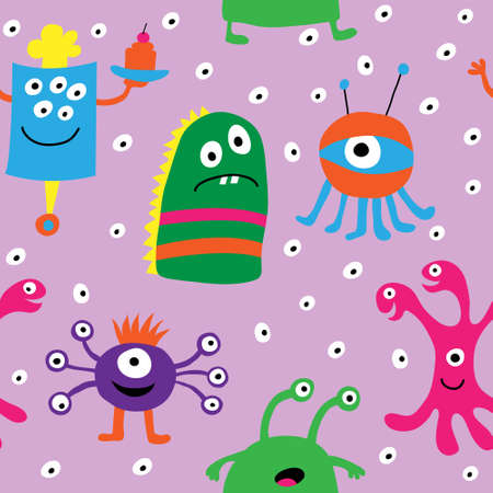 Seamless pattern with a funny monsters on a pink background