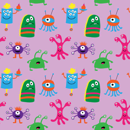 Seamless pattern with a cute monsters on a pink background Illustration