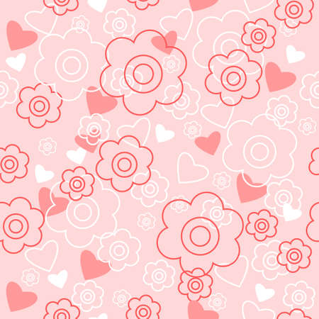 dcor: Cute floral background with a hearts and flowers