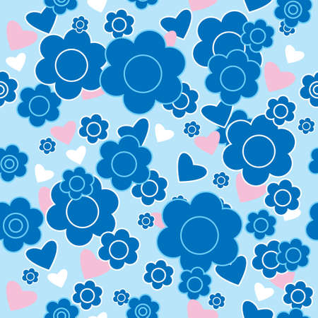 Floral seamless pattern with a blue flowers and hearts