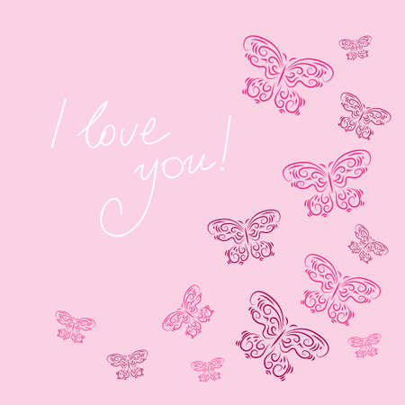 Stylish card with a butterflies on a pink background Illustration