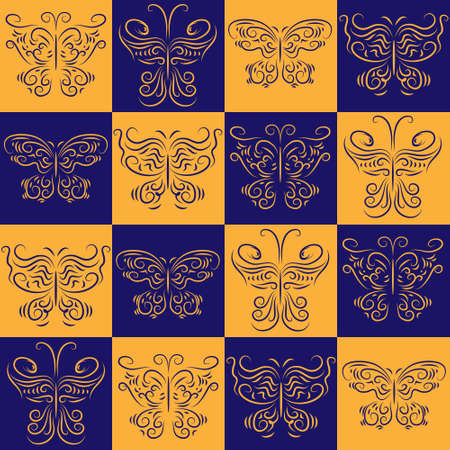 Stylish symmetrical seamless pattern with a different butterflies