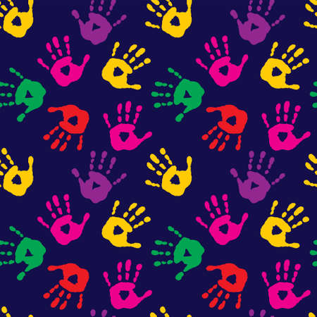 Stylish seamless pattern with a imprints of childrens palms