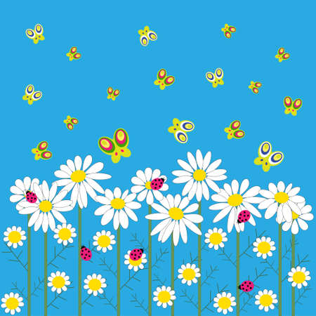 Stylish card with a daisies and butterflies on a blue background Illustration