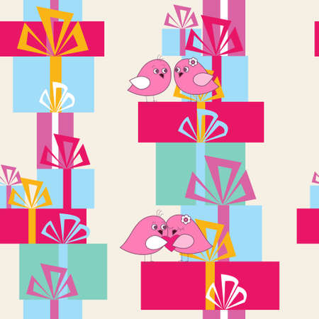 Stylish texture with a birds and gifts.