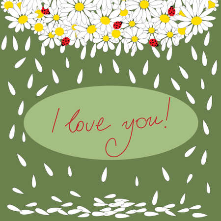 Festive Valentines Day greeting card with a daisies and ladybirds.