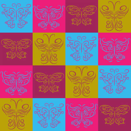 Stylish abstract pattern of a multicolored flies in squares.