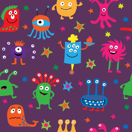 Cute seamless texture with a funny monsters and stars