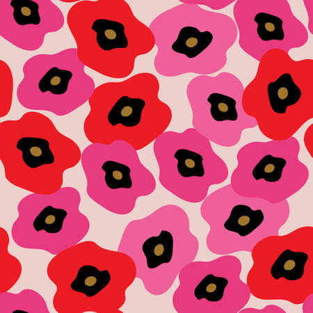 Cute floral seamless texture with a pink poppies Illustration