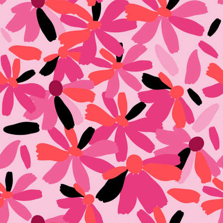 Cute floral seamless texture with a pink flowers