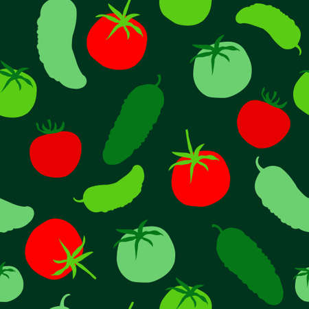 Cute bright seamless texture with a tomatoes and cucumbers