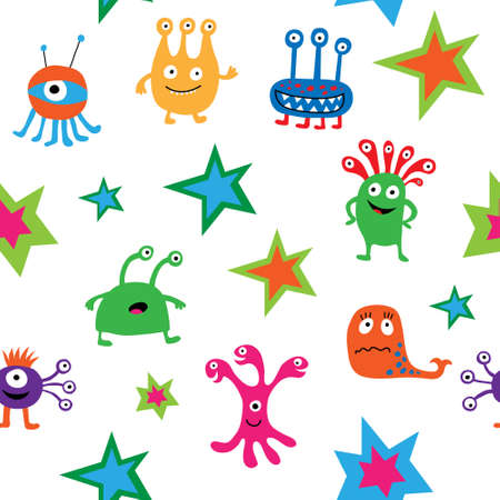 Cute bright seamless texture with a aliens and stars