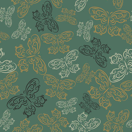 Cute seamless texture with a butterflies on a green background