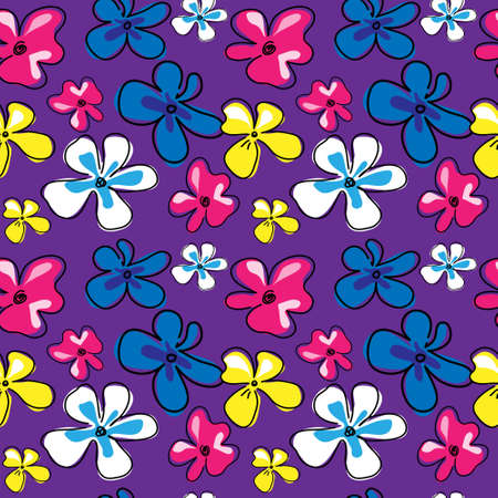Cute seamless texture with a flowers on a violet background