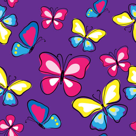 Seamless texture with a multicolored butterflies on a violet background