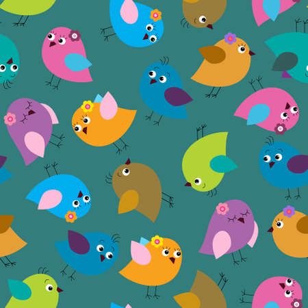 Cute seamless background with a bright birds on a green background