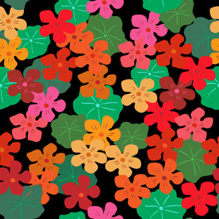 Floral seamless background with a bright nasturtiums on a black background