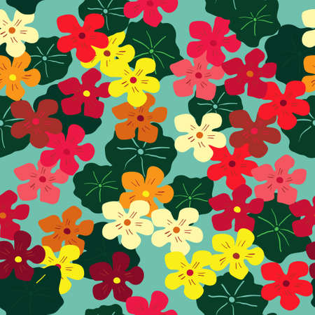Seamless floral texture with a multi-colored nasturtiums Illustration