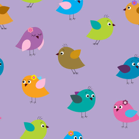 Seamless texture with a cartoon birds on a lilac background