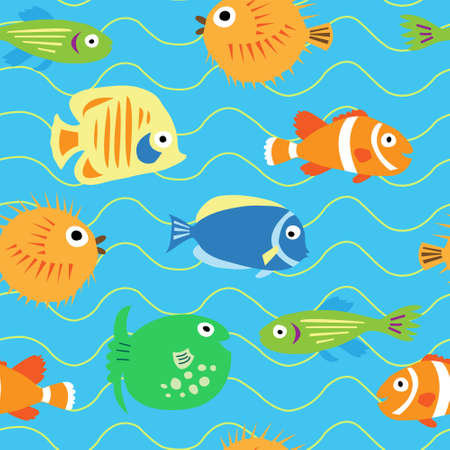 anemonefish: Seamless cute pattern with a different tropical fish