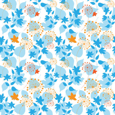 Seamless floral pattern with a different forest plants Illustration