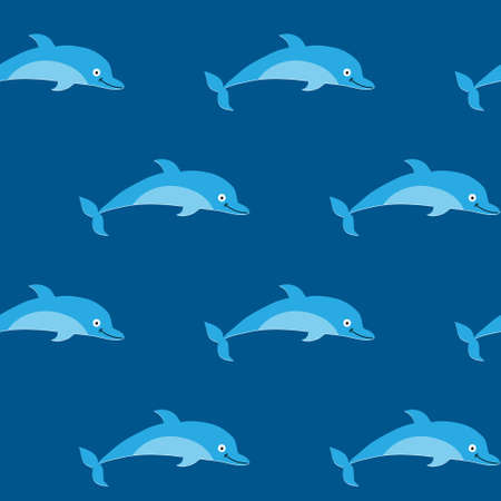 Cute seamless texture with a dolphins on a blue background