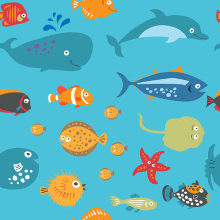 Cute seamless texture with a cartoon fish on a blue background Vectores