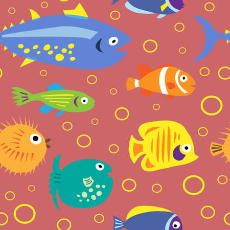 Cute seamless pattern with a cartoon fish on a pink background Vectores