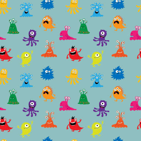 Seamless background with a cute cheerful colorful monsters