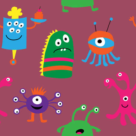 Cute seamless pattern with a different monsters on a pink background