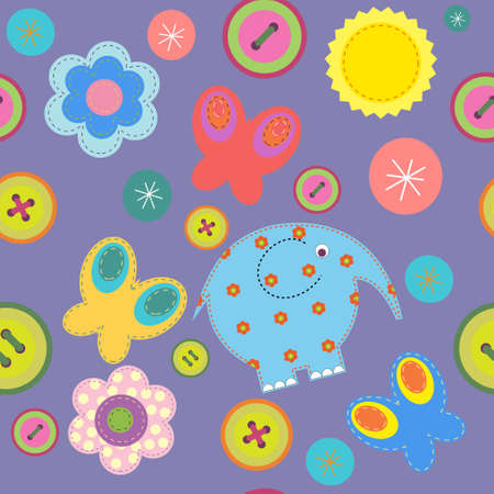 cute bear: Cute seamless pattern with  elephant and butterflies