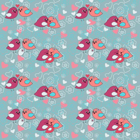 Seamless festive pattern with a flowers and birds