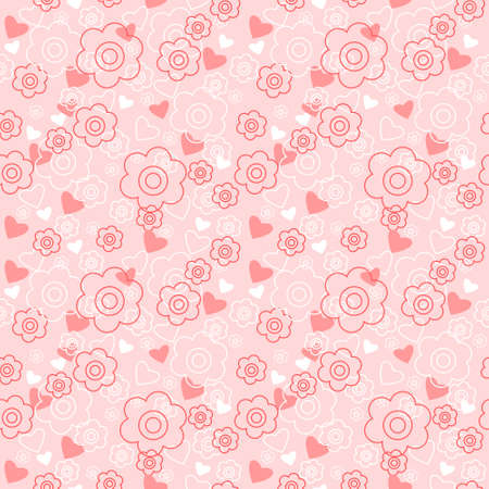 Seamless floral pattern with a hearts on a pink background