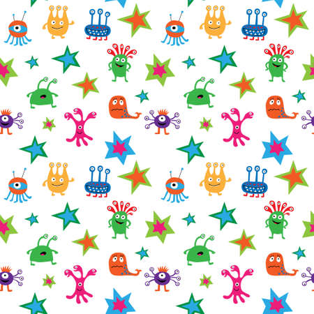 Seamless pattern with a aliens and stars on white background Illustration