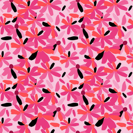 Seamless pattern with a stylish flowers on a pink background Illustration
