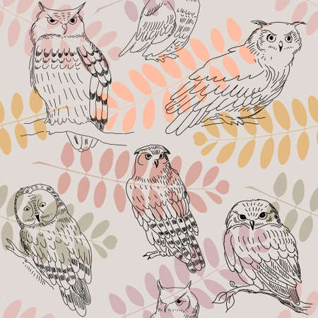abstract academic: Seamless pattern with a acacia branches and wild owls