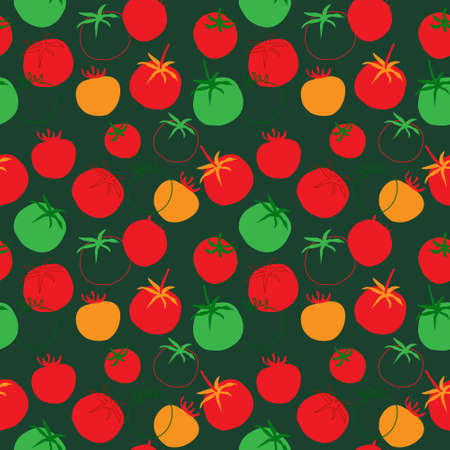 Cute seamless pattern with a tomatoes on a green background Illustration