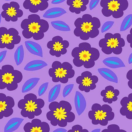 Motif floral décoratif sans fleurs aux violettes violettes
