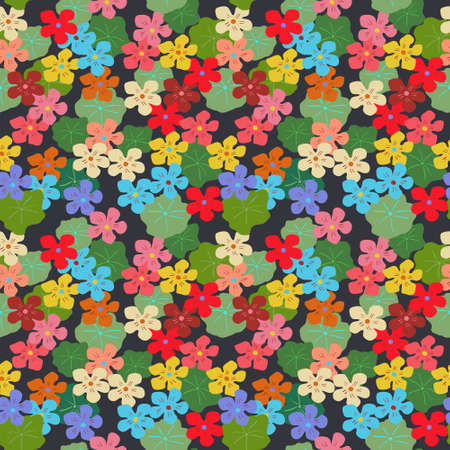 Floral seamless stylish pattern with a different nasturtiums Illustration