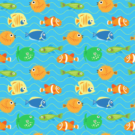 Seamless decorative background from a multi-colored tropical fish Stock Vector - 81059293